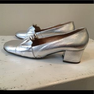Nordstrom 60's mod silver party Italian le…